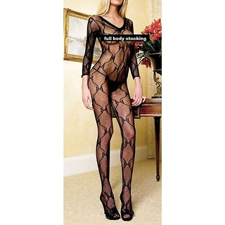 Full Body Stocking Black Open Crotch Printed Semi Sheer Full Sleeves Crotchless Stocking 1p Fancy Night Wear Teddy
