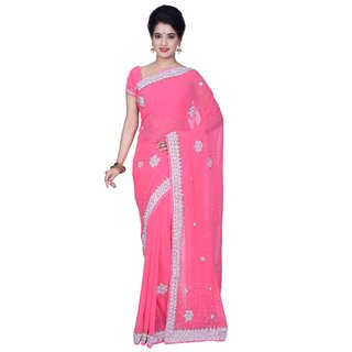 KISAH Women's Pink Synthetic Georgette Hand Embroidered Saree