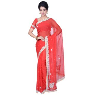KISAH Women's Red Synthetic Georgette Hand Embroidered Saree