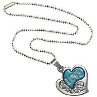 Men Style Best Selling  New Design Crystal Love Alphabet   Silver And Blue  Titanium Stainless Steel Heart Pendent For Men And Women