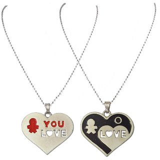 Men Style Sweethearts Couples His And Her You  Love Neckalance for best gift  Black And Red  Titanium Stainless Steel Heart Pendent For Men And Women