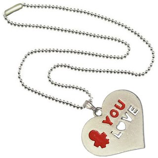 Men Style You Love Red Zinc Alloy Heart Pendent For Men And