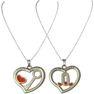 Men Style Couples His And Her Heart  I love You  Necklance Lock Key  for best gift  Red And Silver  Zinc Alloy Lock Key Pendent For Men And Women