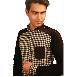 Fire Coal checks shirt with soft cotton combination for men's