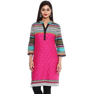 Mytri Pink Cottonjacquard Straight Printed Long Kurta