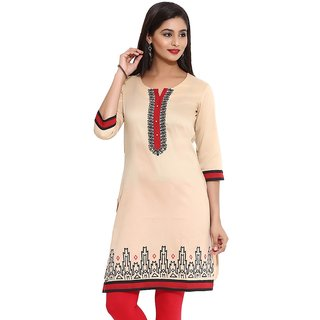 Mytri Beige Ps Straight Embroidered Long Kurta