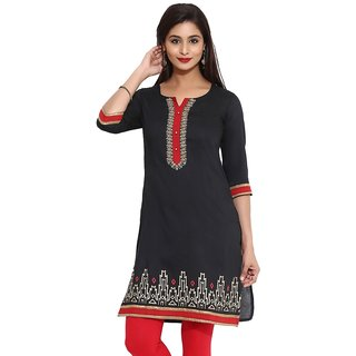 Mytri Black Ps Straight Embroidered Long Kurta