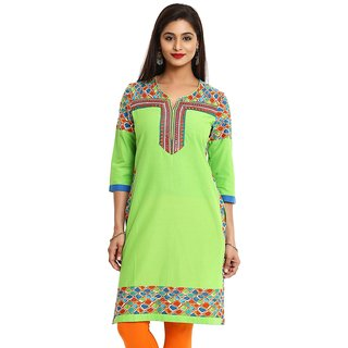 Mytri Green Cambric Straight Embroidered Long Kurta