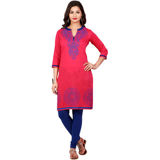 Mytri Fuchsia Ps Straight Printed Long Kurta