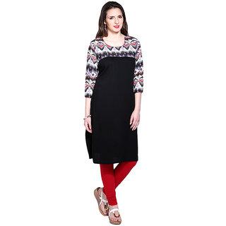 Mytri Black Rayon Straight Printed Long Kurta