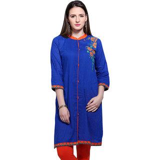 Mytri  Blue Cambric Straight Printed Long Kurta