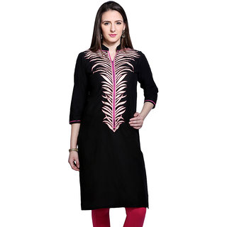 Mytri Black Cambric Straight Printed Long Kurta