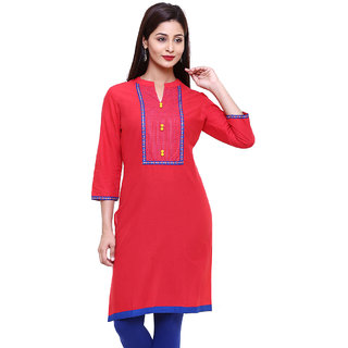 Mytri Red Cambric Straight Embroidered Long Kurta