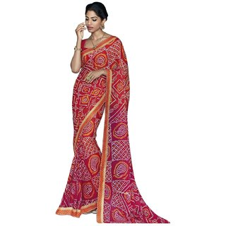 Kataria Red Georgette Printed Saree With Blouse