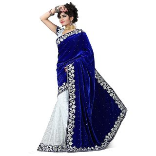 Fashionfounder Blue Net Embroidered Saree With Blouse