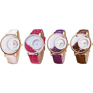 Style Feathers Combo Of 4 White,Red,Purpel,Brown Analog Watch - For Women, Girls