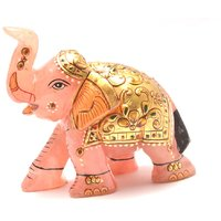 Mahna Original Rose Quartz Gold Painted Elephant Statue 568 Gm(Free Five Mukhi Rudraksha)