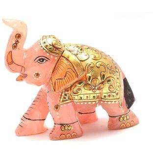 Mahna Original Rose Quartz Gold Painted Elephant Statue 408 Gm(Free Five Mukhi Rudraksha)