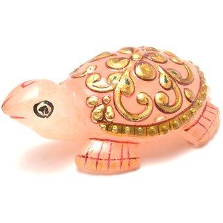 Mahna Original Rose Quartz Gold Painted Tortoise/Kachhua Statue 42-53 Gm(Free Five Mukhi Rudraksha)