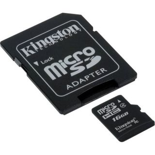 Kingston 16GB microSDHC Memory Card Class 10 with Adapter