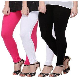 LEGGINGS COMBO PACK-3 WOMEN PLAIN COTTON LEGGINS PREMIUM QUALITY STRETCHABLE LEGGI