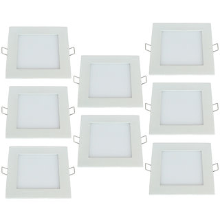 Bene LED 12w Square Panel Ceiling Light, Color of LED Warm White (Yellow) (Pack of 8 Pcs)