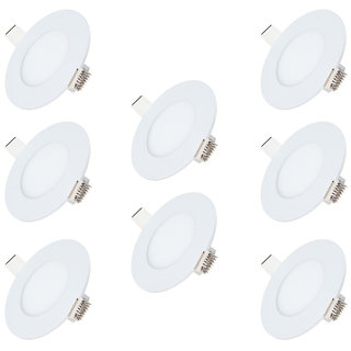 Bene LED 3w Round Panel Ceiling Light, Color of LED Warm White (Yellow) (Pack of 8 Pcs)