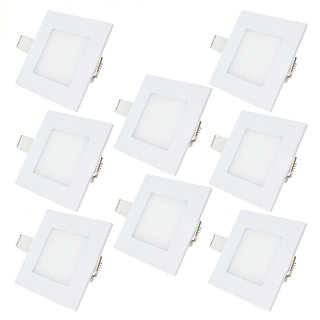 Bene LED 3w Square Panel Ceiling Light, Color of LED White (Pack of 8 Pcs)