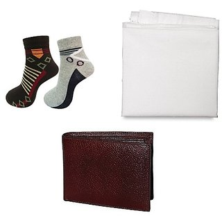 Home shop Combo - 2 Pair Socks, Brown Wallet and White Handkerchief for Men