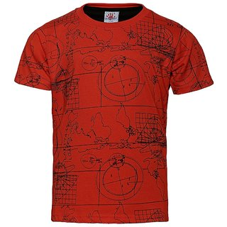 Punkster Red Round Neck T-Shirt For Boys