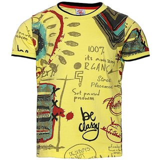 Punkster Yellow Round Neck Half Sleeves T-Shirt For Boys