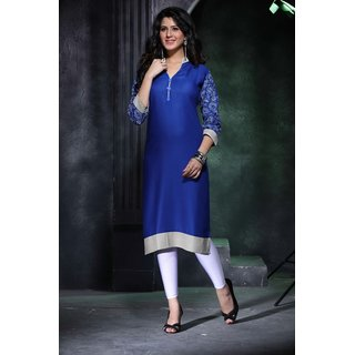 Rich blue diva designer long rayon kurti