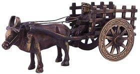 Home Decor Brown Antique Finish Brass Bullock Cart Sculpture