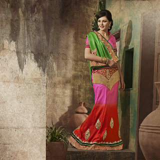 IshiMaya Red and Pink Designer Party wear Saree