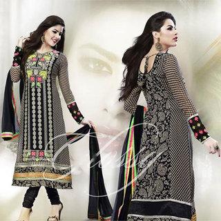 IshiMaya Black A-Line Georgette Suit
