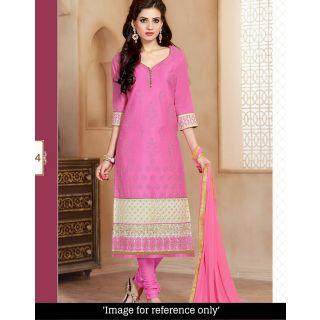 Ellis Harvey Integral Pink  Glaze Cotton Embroidered Praty wear Straight Salwar Suit