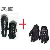 Combo Of FOX Raptor Knee Guard BLACK+ Probiker FULL Gloves BLACK COLOUR L