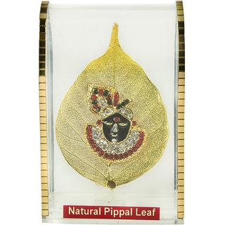Bankey Bihari ji gold plated peepal leaf statue