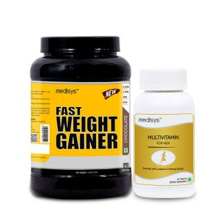 Medisys Fast Weight Gainer - Chocolate - 1.5Kg Free Multivitamin for Men