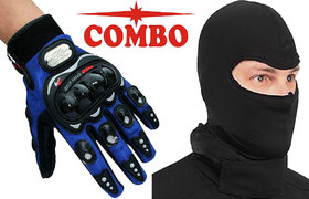 Probiker- Blue Full Hand Gloves+ Face Mask