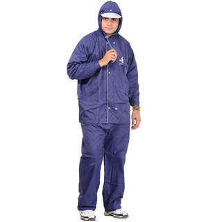 ALLWIN Raincoat Rainsuit Full Sleeve Jacket with Detachable Hood, Pant  Reversible, NV-905ANAVYXXL