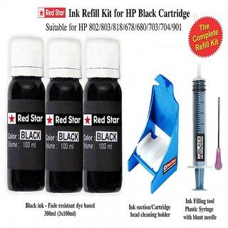Red Star Ink refill kit for HP black cartridge  678,680,802,803,818,703,704,901