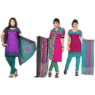 Aaina Pack of 3 Multicolor American Crepe Printed Dress Material (SB-Pack of 3 American Crepe-July16-8)