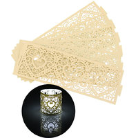Imported 6Pcs Paper Heart Led Tea Light Holders Wedding Party Decoration Light Yellow