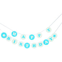 Imported Baby Shower Party Decoration Happy Birthday Hanging Banner Decoration Blue