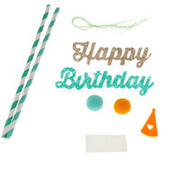 Imported Colored Baby Birthday Bunting Cupcake Toppers Party Flags Aqua Blue