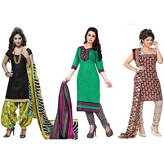 Aaina Pack of 3 Multicolor Polycotton  Printed Dress Material (SB-Pack of 3 Pc Cotton-July16-10)