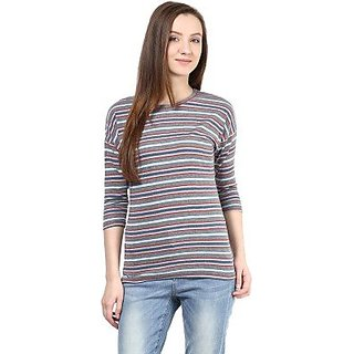 Hypernation Grey and Blue Stripe Round Neck Cotton T-shirt-HYPW0620