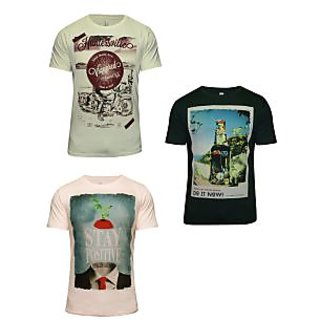 Hefty Pack of 3 Graphic Print Casual Multicoloured Round Neck T-Shirt