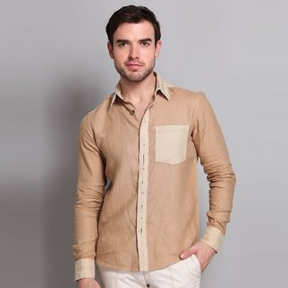 Full Sleeve Linen Shirt With Patch Pocket Design 2